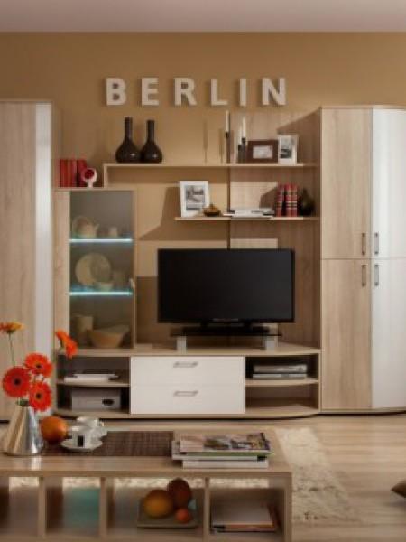 Модульная мебель для гостиной «Berlin» Шоколад Глянец, Белый Глянец