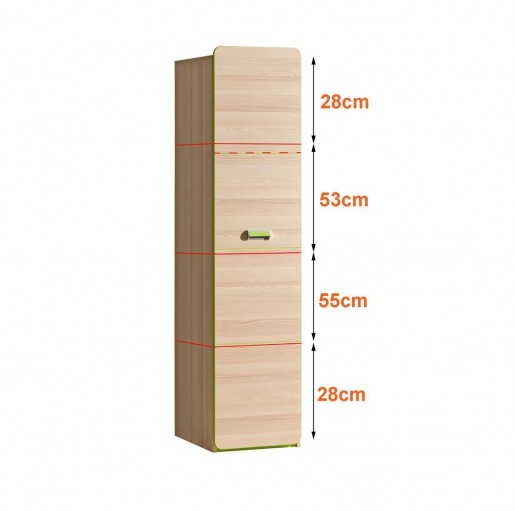 Шкаф одностворчатый L2 зелёный