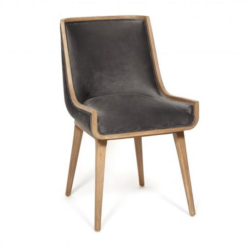 Кресло Secret de Maison BUGATTI красное дерево/ ткань флок, 50*58*84 см, Античный дуб/ ткань серая